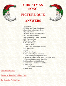Answers to the CHRISTMAS SONG PICTURE QUIZ