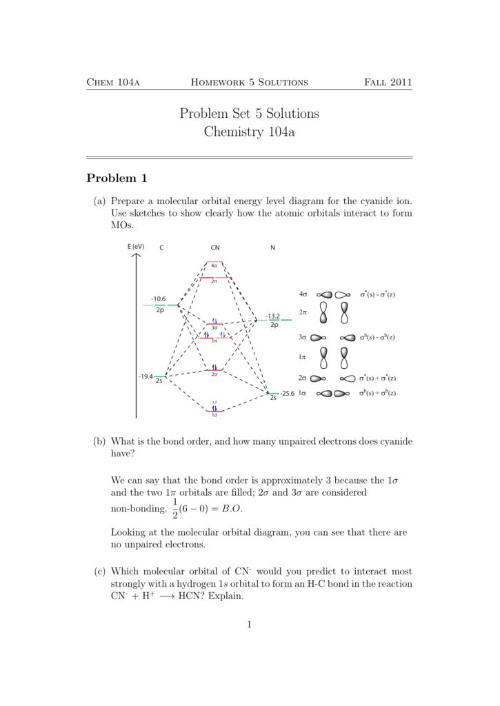 chem 104a homework 5 solutions fall 2011 problem set 5 solutions chemistry  104a problem 1 (a) prepare a molecular orbital energy level diagram for the