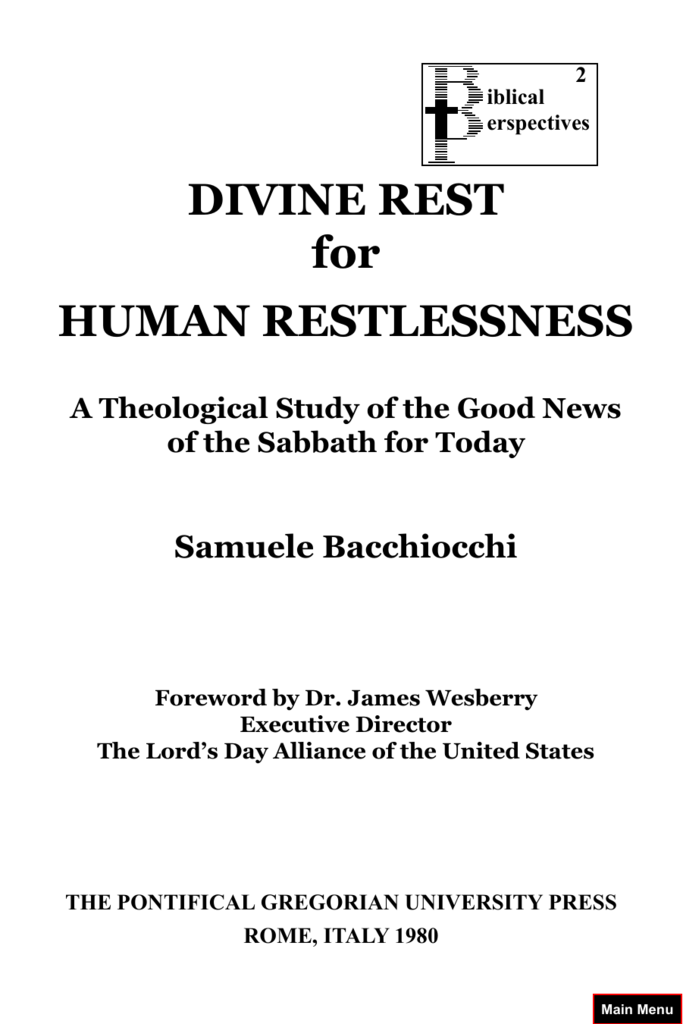 DIVINE REST for HUMAN RESTLESSNESS