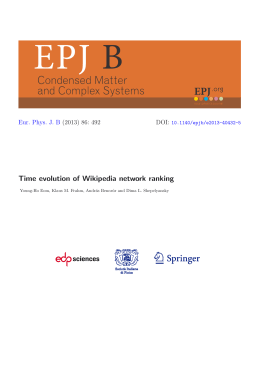 Time evolution of Wikipedia network ranking