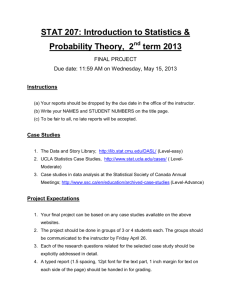 STAT 207: Introduction to Statistics & Probability Theory, 2 term 2013