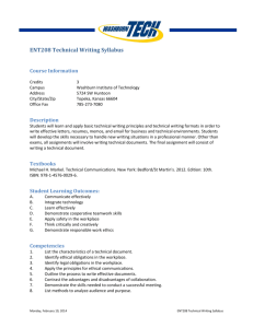 ENT208 Technical Writing Syllabus