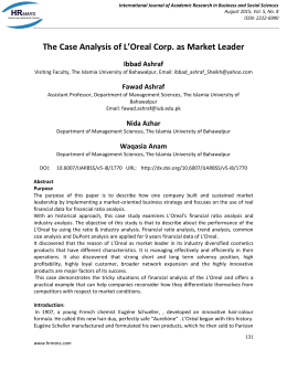 The Case Analysis of L'Oreal Corp. as Market Leader