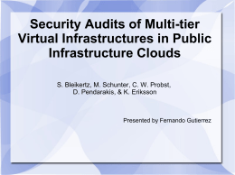 Security Audits of Multi-tier Virtual Infrastructures in Public
