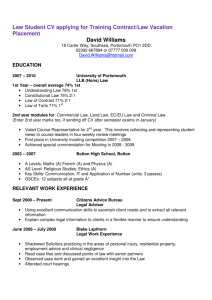 Law Student CV applying for Training Contract/Law Vacation