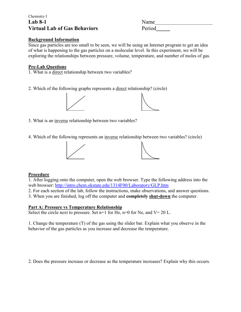 worksheet Behavior Of Gases Worksheet virtual lab of gas behaviors
