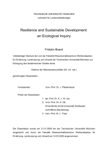 Resilience and Sustainable Development: an Ecological Inquiry