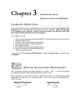 Chapter GENERAL JOURNAL TRANSACTIONS AND REPORTS