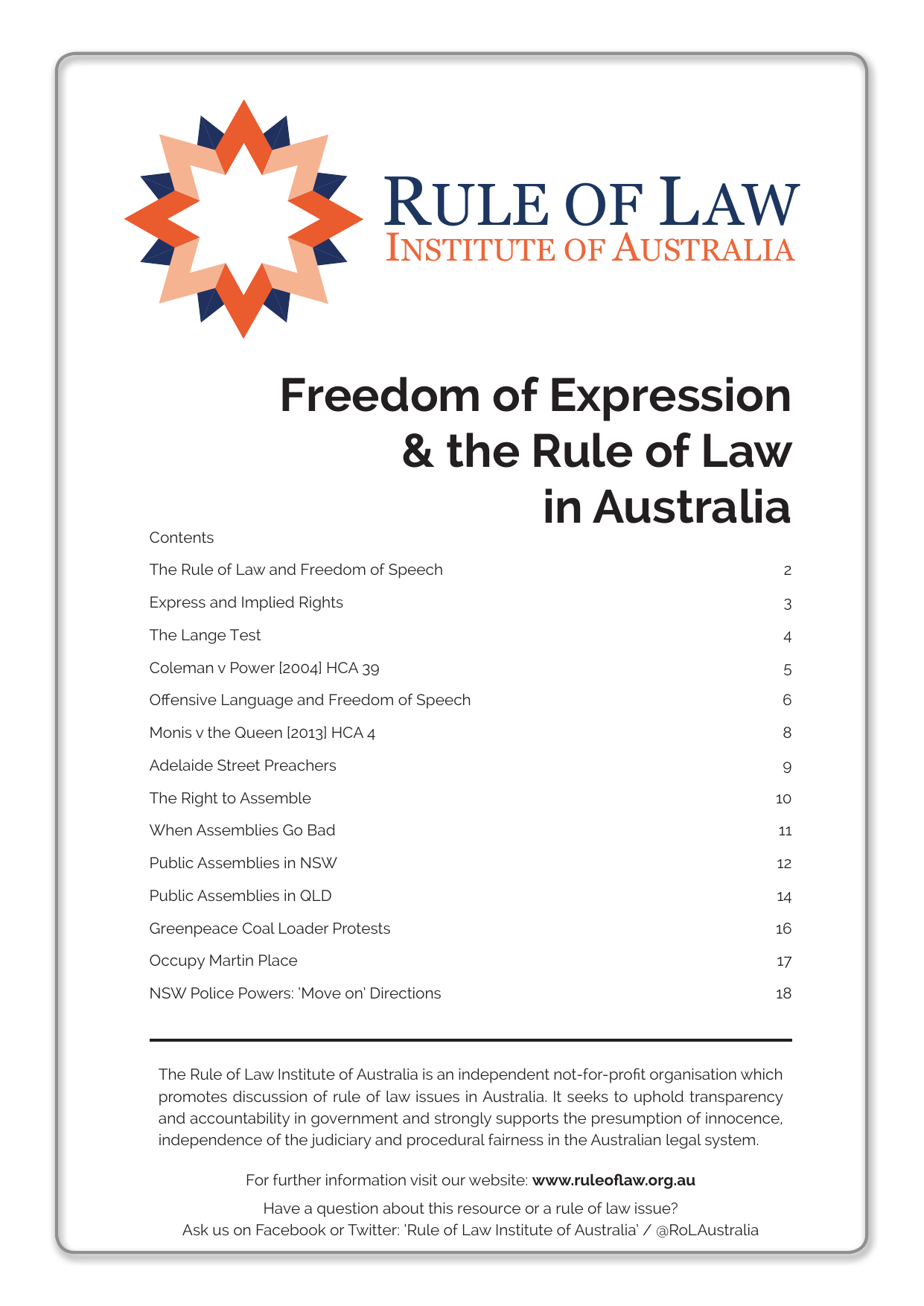 Freedom of Expression - Rule of Law Institute of Australia