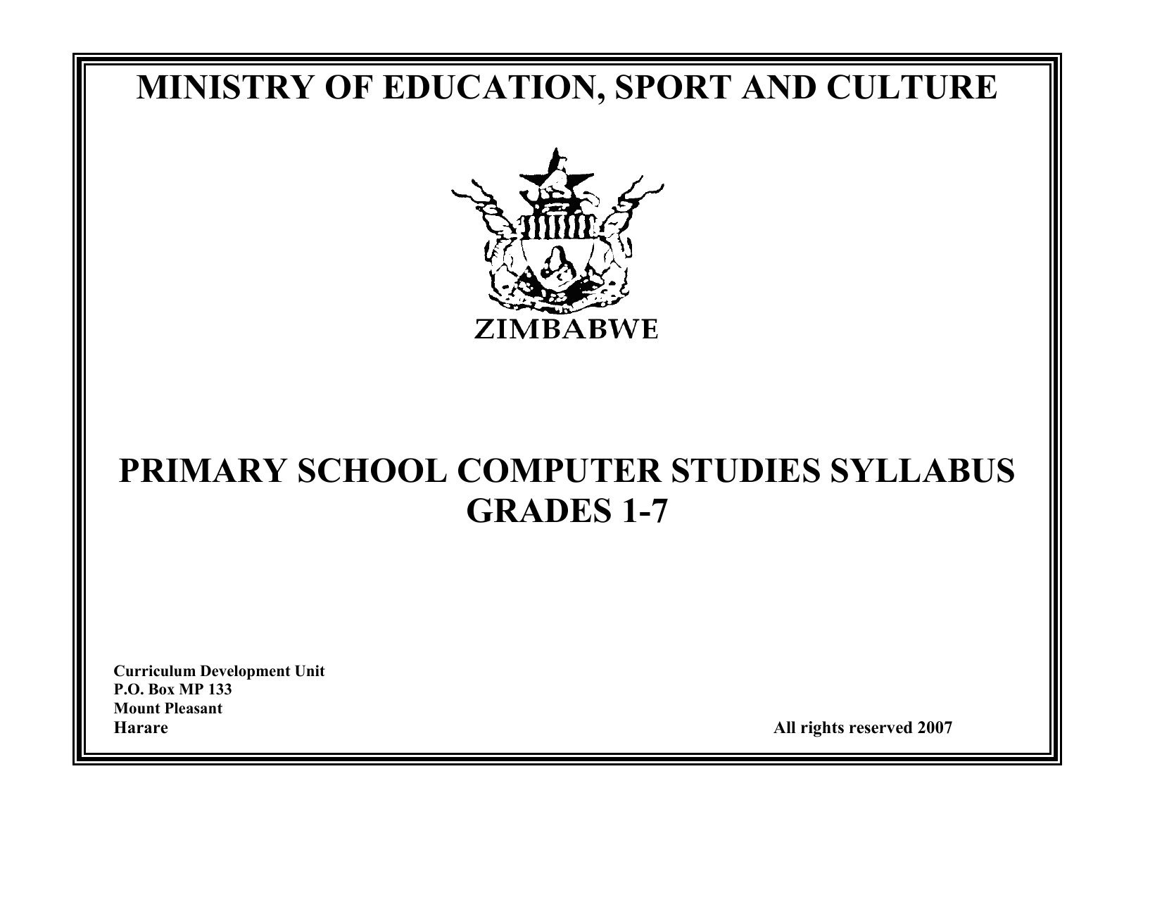 PRIMARY SCHOOL COMPUTER STUDIES SYLLABUS