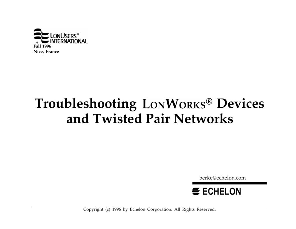 Swell Troubleshooting Lonworks Devices Wiring 101 Ivorowellnesstrialsorg