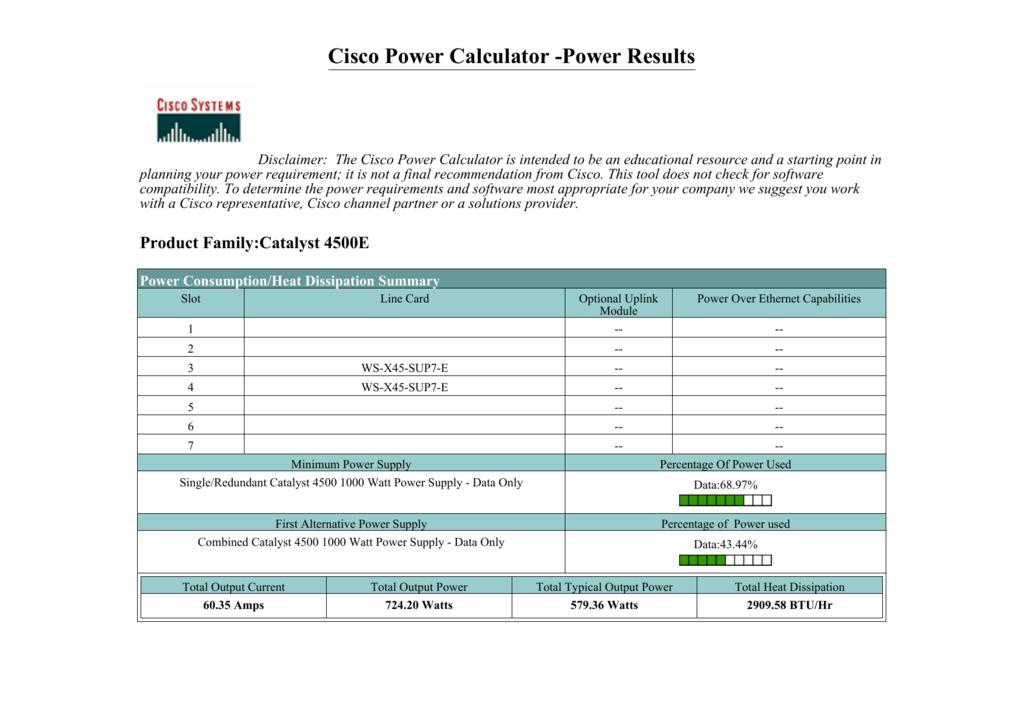 Cisco Power Calculator