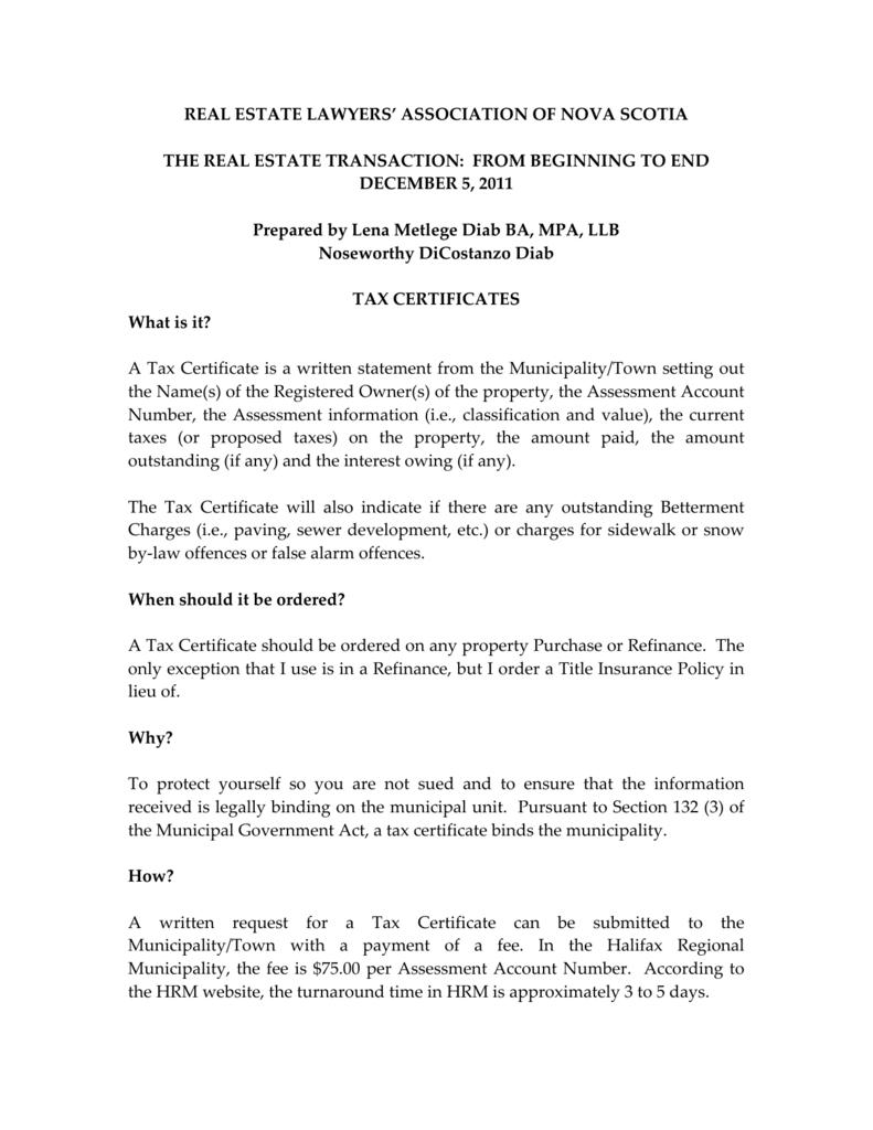 Tax Certificate Memo Lawyers Insurance Association Of Nova Scotia