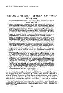 Gogel (1963) The visual perception of size and distance
