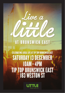 saturDaY 13 DeCeMber 10aM–4pM tip top brunswiCk east 183