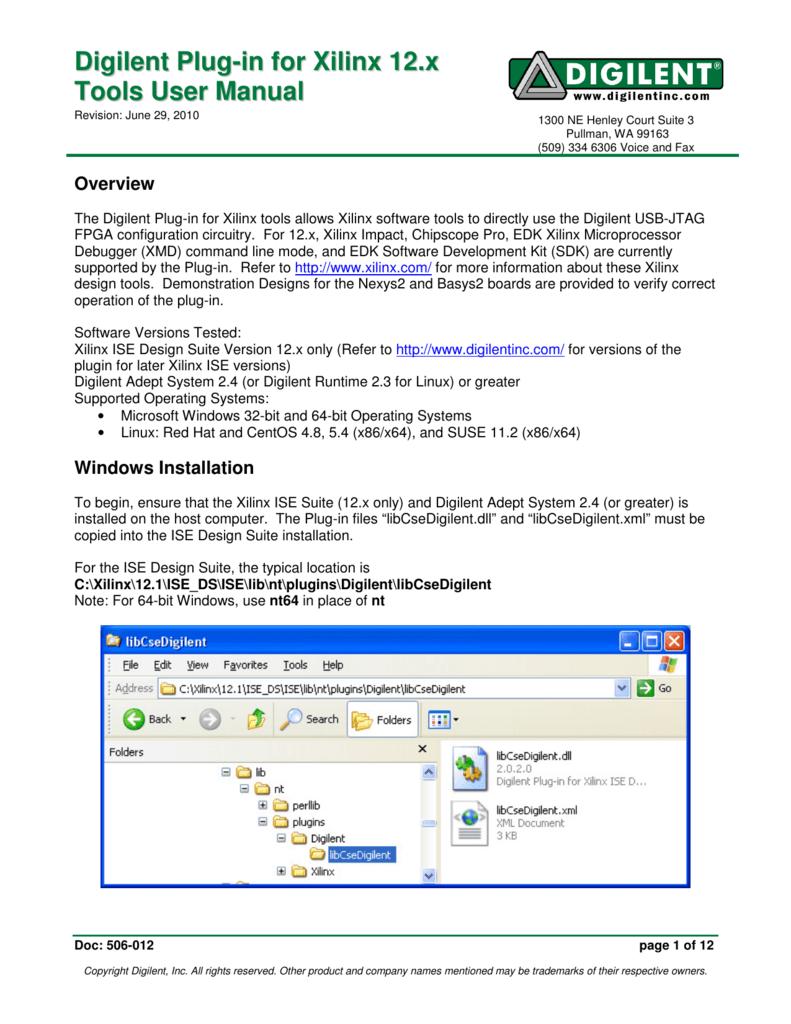 Digilent Plug-in for Xilinx 12 x Tools User Manual
