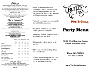 Butler Inn Party Menu