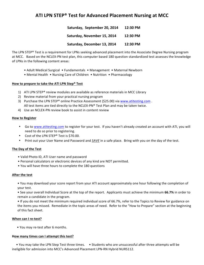 ATI LPN STEP® Test for Advanced Placement Nursing at MCC