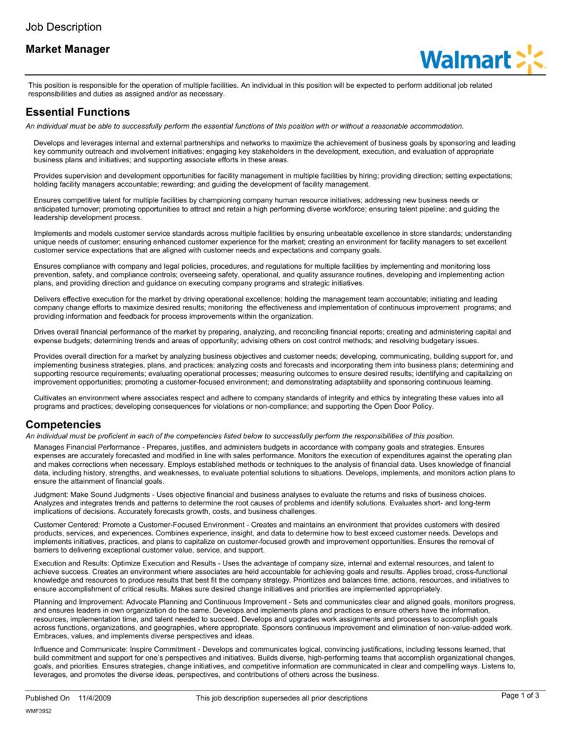 Market Manager Job Description Essential Functions Competencies