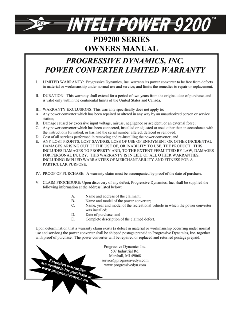 Pd9200 Series Owners Manual Progressive Dynamics Intelli Power Converter Wiring Diagram