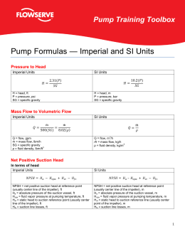 Pump Formulas — Imperial and SI Units