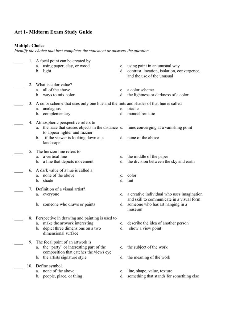 Art 1 Midterm Exam Study Guide