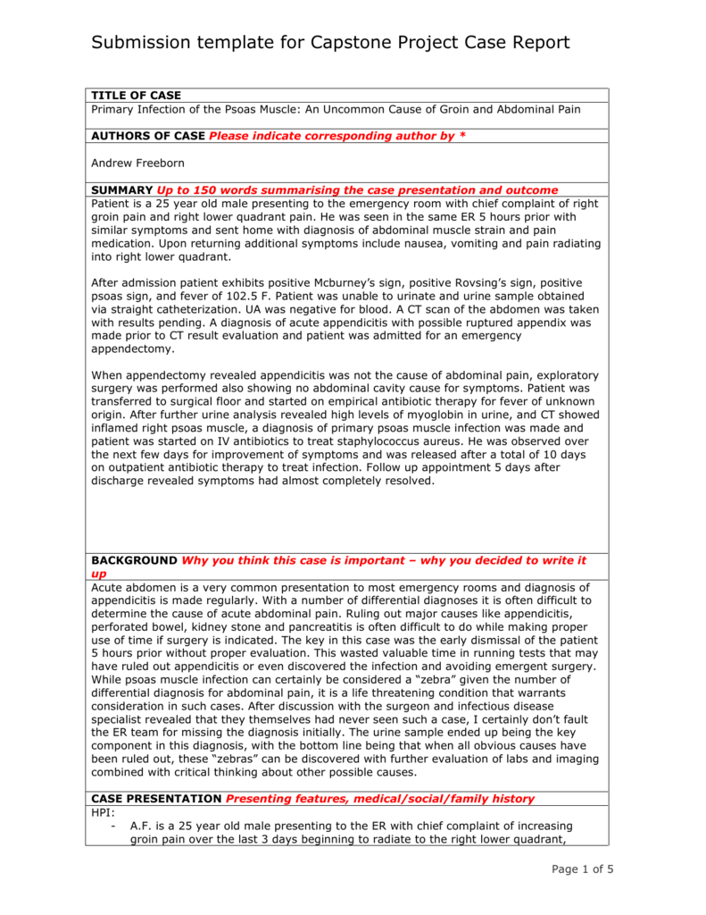 Submission template for Capstone Project Case Report