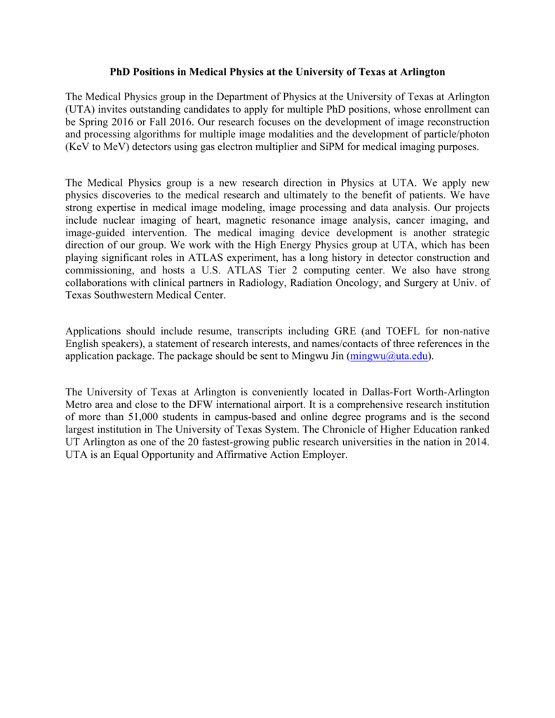 phd positions in medical physics at univ of texas at arlington
