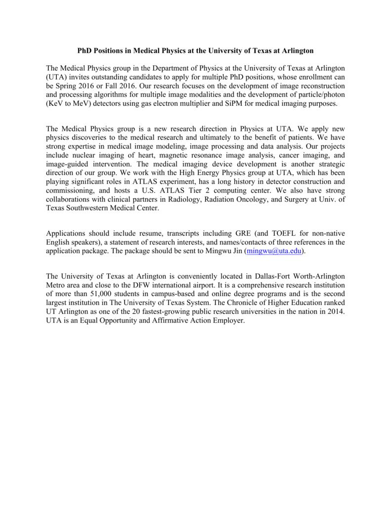 phd positions in medical physics at univ of texas at arlington