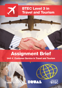 (Unit 4) Customer Service in Travel and Tourism
