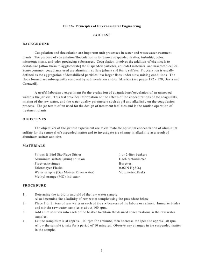 CE 326 Principles of Environmental Engineering JAR TEST