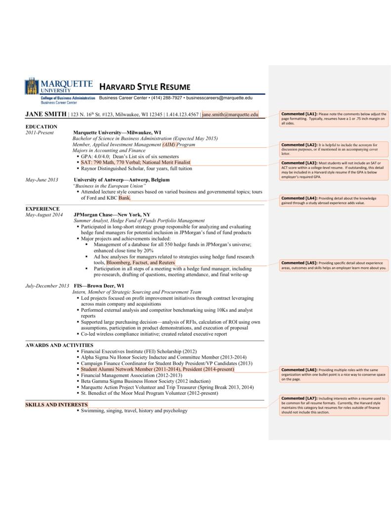 harvard style resume