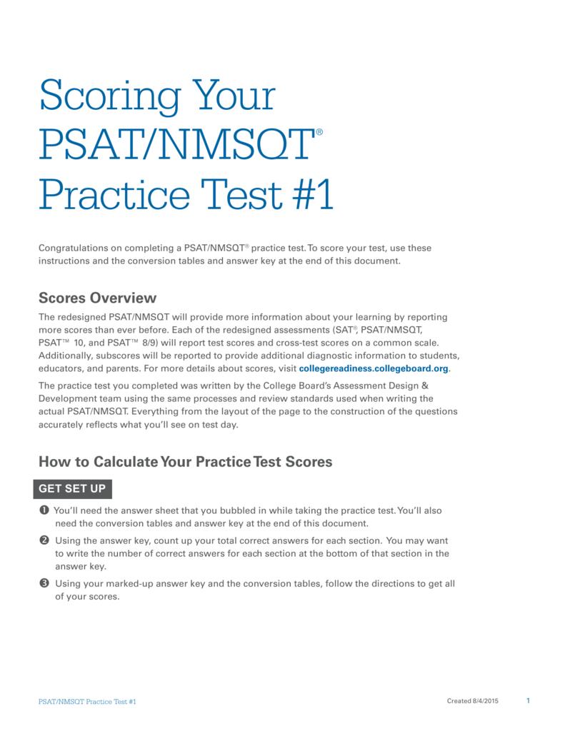 Scoring psatnmsqt practice test 1 geenschuldenfo Images