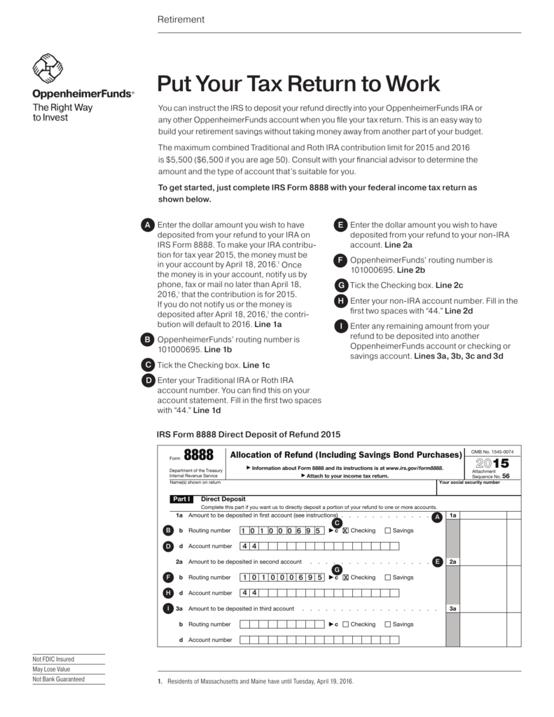 Put Your Tax Return to Work IRS Form 8888