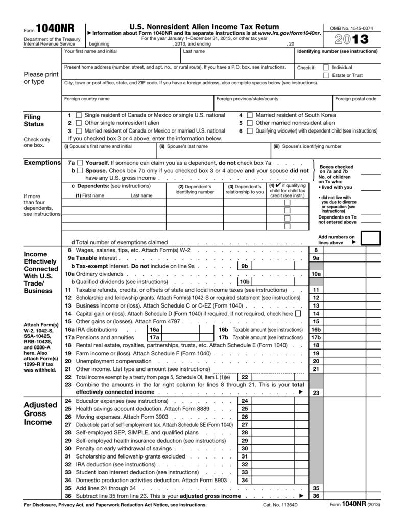 2013 Form 1040nr
