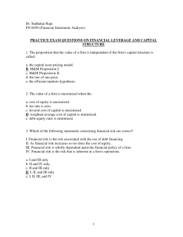 practice exam questions on financial leverage