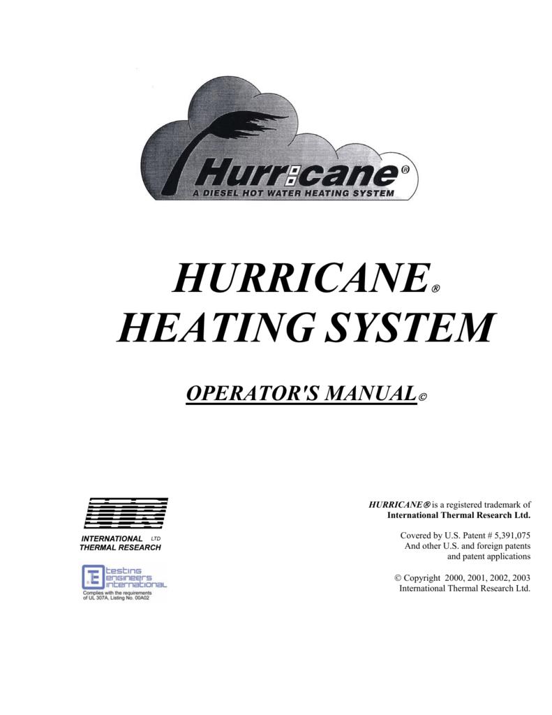 Hurricane Heating System International Thermal Research Motorhome Wiring Diagram