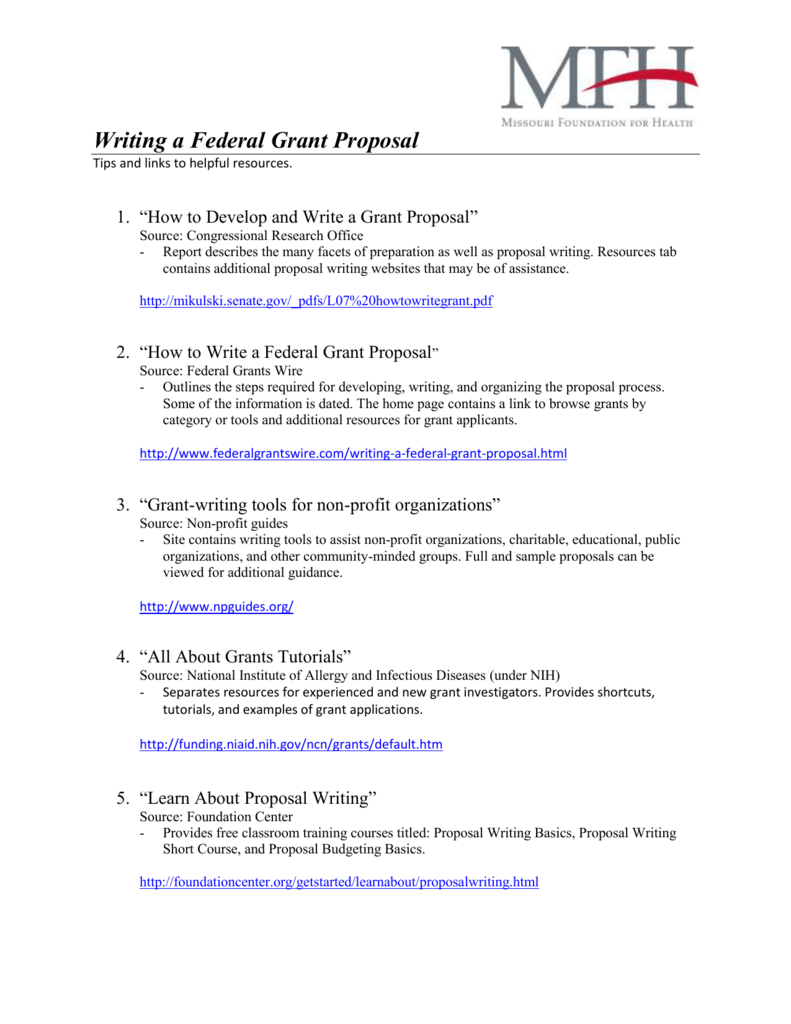 Writing a Federal Grant Proposal
