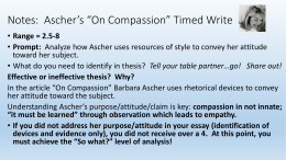 on compassion rhetorical analysis notes ascher s ldquoon compassionrdquo timed write