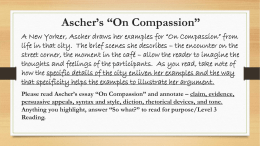 "Ascher's ""On Compassion"""