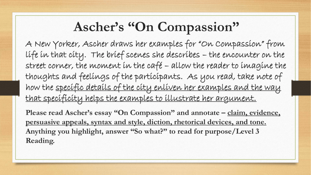 what is aschers thesis in on compassion