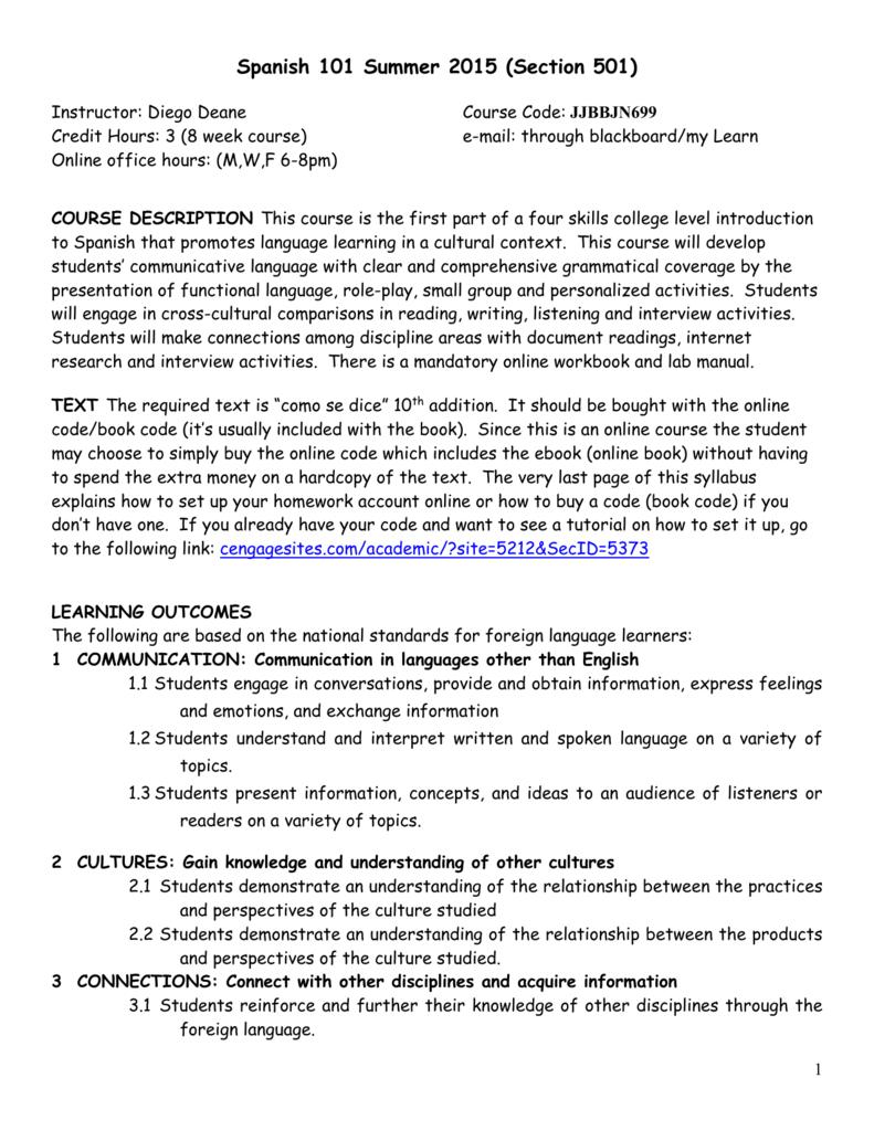 Spanish 101 Summer 2015 (Section 501)