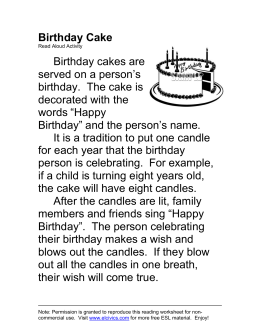 ESL Read Aloud - Birthday Cake
