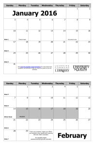 4-month Calendar - Learning Skills Inventory