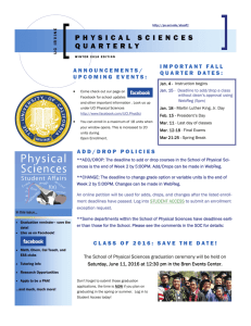 Winter 2016 Newsletter - School of Physical Sciences