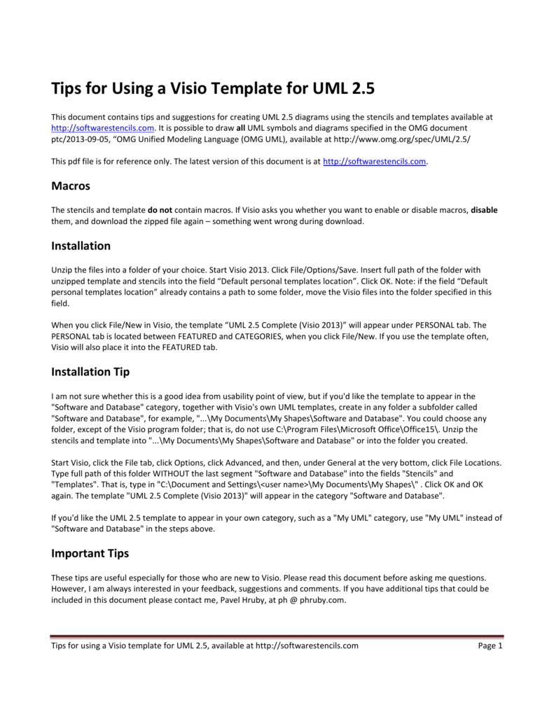 Tips For Using A Visio Template For Uml 25