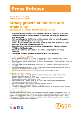 Strong growth of internet and triple play