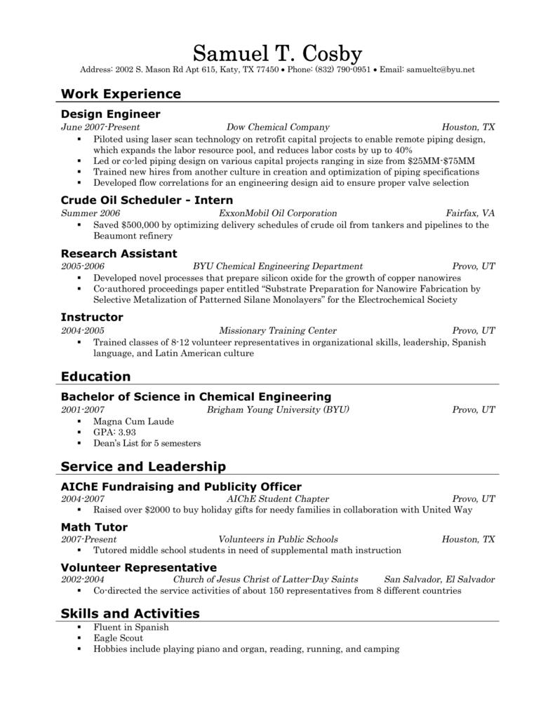 Resume Samples Ira A Fulton College Of Engineering Technology