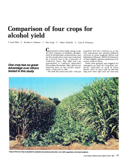 Comparison of four crops for alcohol yield
