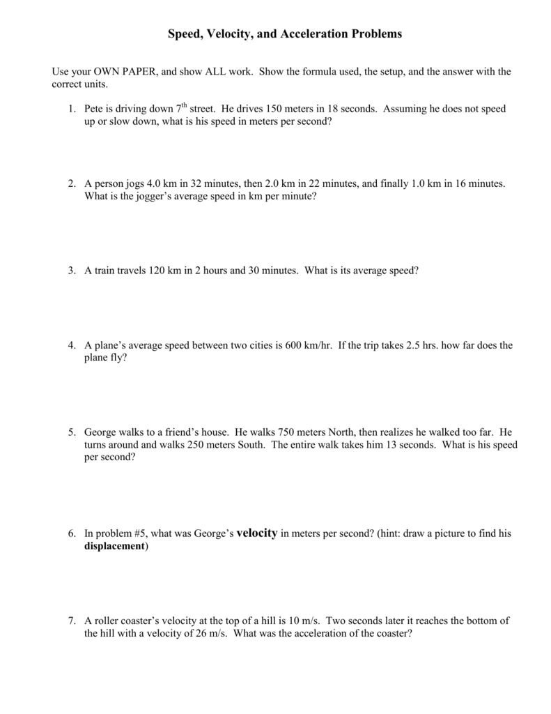 Speed Problems Worksheet 1 Answer Key